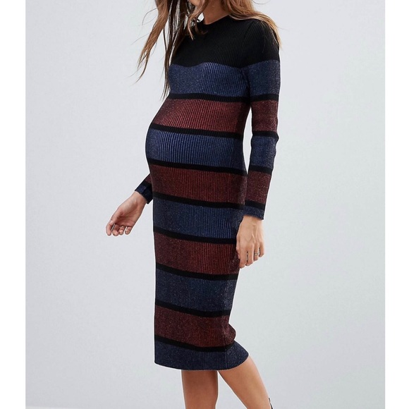 e725fde62a101 ASOS Maternity Dresses & Skirts - ASOS Maternity Knit Midi Striped Dress